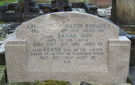 Private Frank Richards's headstone after restoration