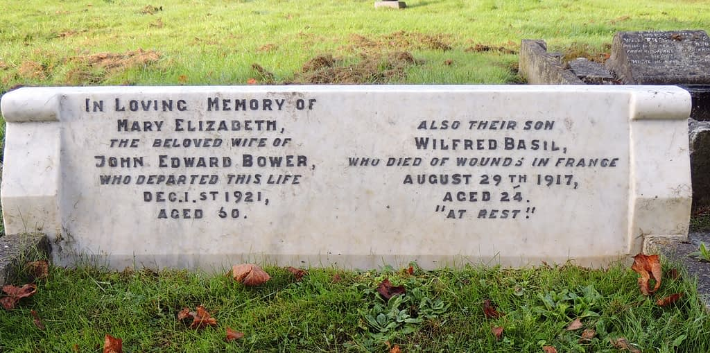 Private Wilfred Basil Bower's headstone after restoration