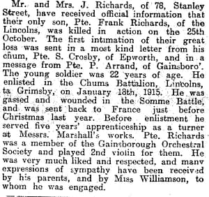 Newspaper clipping about Private Richards
