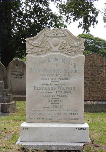 Private John (Jack) Samuel Wright's headstone after restoration