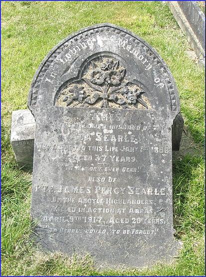 Private Searle's headstone before restoration