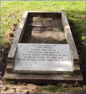 Lance Cpl. David Marshall's headstone after restoration