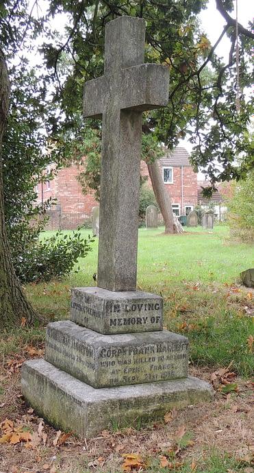 Cpl. Haggett's headstone before restoration
