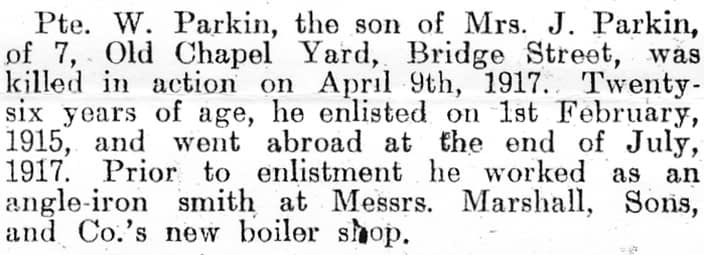 Private William Frank Parkin - newspaper clipping