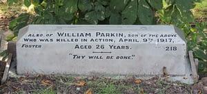 Private William Frank Parkin's headstone after restoration